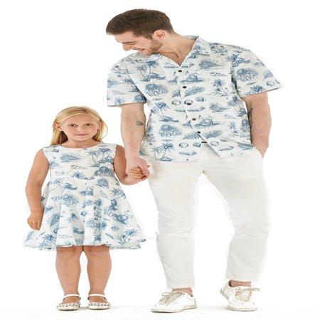 Matching Father Daughter Hawaiian Dance Shirt Vintage Dress Vintage Tropical Toile Men XL Girl -