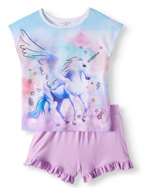 Graphic Dolman Sleeve T-shirt, & Soft Ruffle Shorts, 2pc Outfit Set (Toddler Girls)