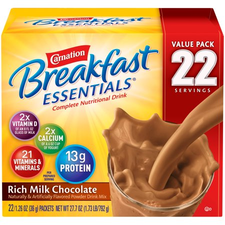 Carnation Breakfast Essentials Powder Drink Mix, Rich Milk Chocolate, 1.26 oz. Packets, 22 Count ()