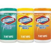 Clorox Disinfecting Wipes (225 Count Value Pack), Bleach Free Cleaning Wipes - 3 Pack - 75 Count Each