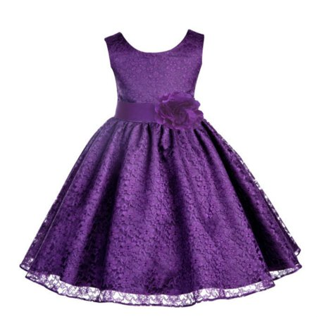 Ekidsbridal Floral Lace Overlay Flower Girl Dress Christmas Bridesmaid Wedding Pageant Toddler Recital Easter Holiday First Communion Birthday Baptism Special Occasions Formal Events 163T - Girls Dresses Size 8