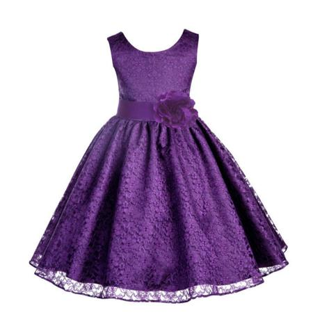 Ekidsbridal Floral Lace Overlay Flower Girl Dress Christmas Bridesmaid Wedding Pageant Toddler Recital Easter Holiday First Communion Birthday Baptism Special Occasions Formal Events 163T - Cute Holiday Dresses For Girls