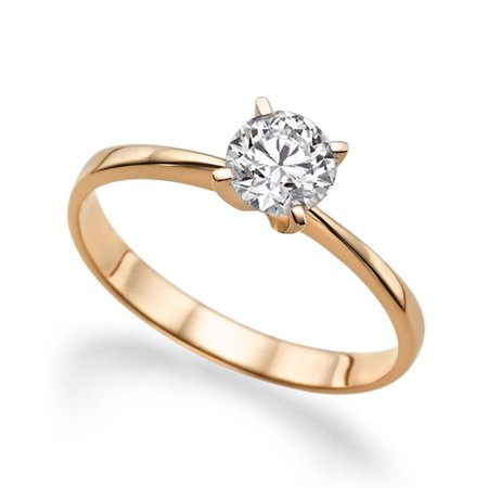 Beautiful 1.00ct Lab Created White Sapphire Engagement Ring Rose Gold 14K