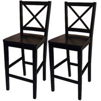 "TMS Virginia Cross-Back 24"" Counter Stools,Black, Set of 2"