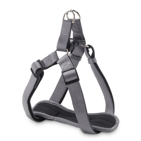 Vibrant Life Comfort Gray Padded Dog Harness, Large,