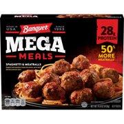 Banquet Mega Meals Spaghetti and Meatballs Frozen Dinner, 14.8 Ounce