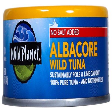 - (4 Pack) Wild Planet Wild Albacore Tuna No Salt, 5 oz Can
