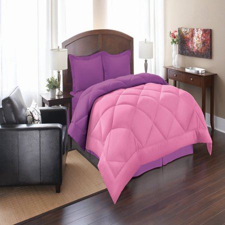 - Elegant Comfort Goose Down Alternative Reversible 3pc Comforter Set- Available In A Few Sizes And Colors , King/Cal King, Pink/Purple