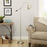 Better Homes & Gardens Adjustable Arm Metal Floor Lamp, Nickel