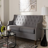 Baxton Studio Celine Modern and Contemporary Grey Fabric Upholstered Button-Tufted 3-Seater Sofa