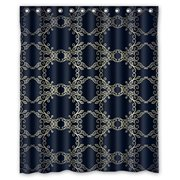 HelloDecor Black Golden Lace Flower Shower Curtain Polyester Fabric Bathroom Decorative Size 60x72 Inches
