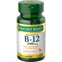 Nature's Bounty B-12, Natural Cherry 2500mcg Quick Dissolve Tablets, 75ct