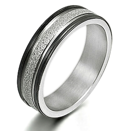 Gemini Men's Two Tone Promise Anniversary Couple Wedding Titanium Ring width 6mm US Size 9.5 Valentine's Day Gift