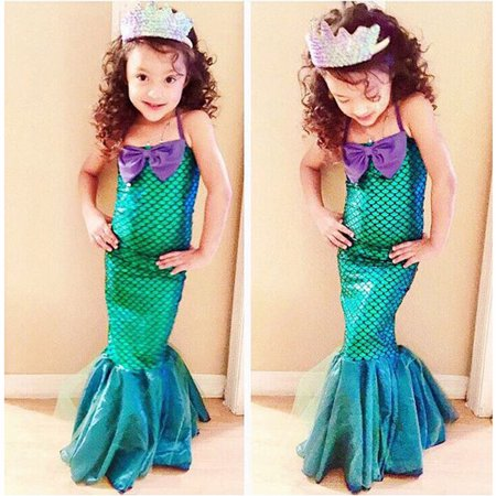 Bain Costume (Kids Ariel Sequin Little Mermaid Set Girls Princess Fancy Dress Up Party Costume 3-4)