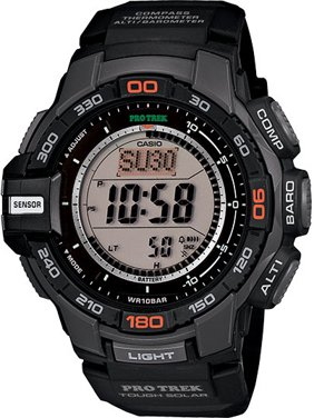 Men's Pro Trek Solar Powered Triple-Sensor Watch with Black Resin Strap