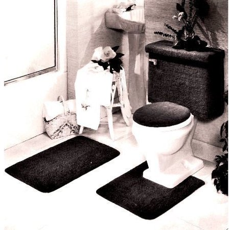 Phenomenal 5 Piece Bath Rug Contour Lid Tank Lid Tank Cover Set Black Cjindustries Chair Design For Home Cjindustriesco