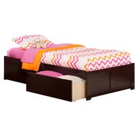 Concord Platform Bed with Flat Panel Foot Board and 2 Urban Bed Drawers, Multiple Colors, Multiple Sizes