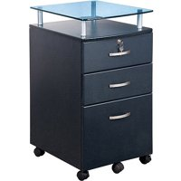 Vetro Rolling File Cabinet with Glass Top and 3-Drawers, Graphite