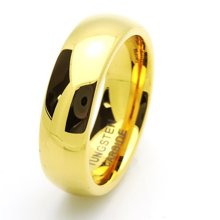 7MM Comfort Fit Tungsten Carbide Wedding Band High Polish Domed Gold Tone Ring (7 to 15) Size 8