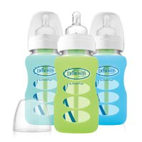 9oz Wide Neck Glass Bottles in Silicone Sleeve, 3pk, Boys