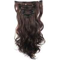 "FLORATA 17""-24"" Curly Clip in Synthetic Hair Extensions, Style T8-C, Full Head 8 Pieces 18 Clips, 140g-145g"
