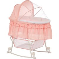 Dream On Me Lacy Portable 2-in-1 Bassinet and Cradle, Rose Quartz
