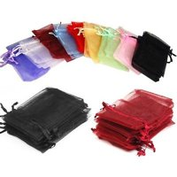 "Craft and Party 6""x15"" Sheer Drawstring Organza Jewelry Pouches Wedding Party Christmas Favor Gift Bags"
