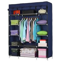 "Ktaxon 53"" Portable Closet Storage Organizer Wardrobe Clothes Rack With Shelves,Blue"