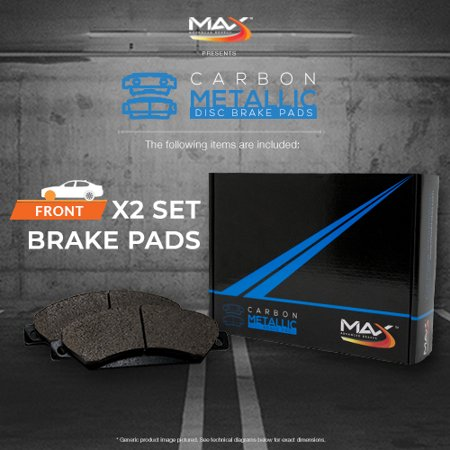 Max Brakes Front Carbon Metallic Performance Disc Brake Pads TA022951 | Fits: 2007 07 2008 08 2009 09 2010 10 Fit Kia Optima - image 1 de 6
