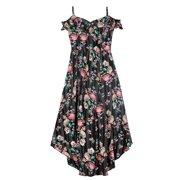 fdf7d746772 Floral Asymmetrical Cold Shoulder Walk-Thru Maxi Dress with Necklace (Big  Girls)
