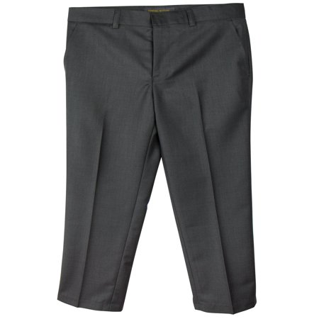 Spring Notion Boys' Flat Front Dress Pants Charcoal