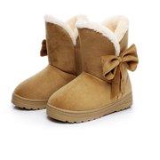 6069e82af9c31 Bowknot Warm Women Flats shoes Snow Women Boots Autumn Winter shoes Fashion  BK/B