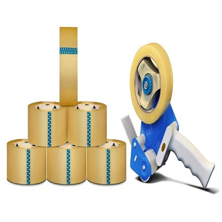 Free Packing - 1.5 Mil Clear Carton Sealing Tape 110 Yard Length x 3 Inch Wide Packaging Tapes 6 Rolls + Free 3-Inch Dispenser