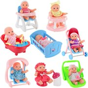 "Click N' Play Set of 8 Mini 5"" Baby Girl Dolls with accessories, Stroller, Cradle, High Chair, Bathtub, Infant Seat, Swing, Walker, Potty."