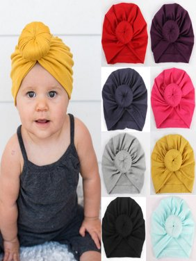 Baby Hat, Knit Solid Color Soft Bunny Ear Head Wrap Headband Infan Toddler Cap Beanie Scarf Turban for Newborn Girl Boy