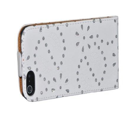 AMC Soft Skin Cover Case for Apple iPhone 5 5S Maple Leaf Flower Design - White