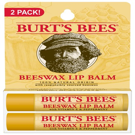 Burts Bees 100% Natural Moisturizing Lip Balm, Beeswax, 2 Tubes in Blister