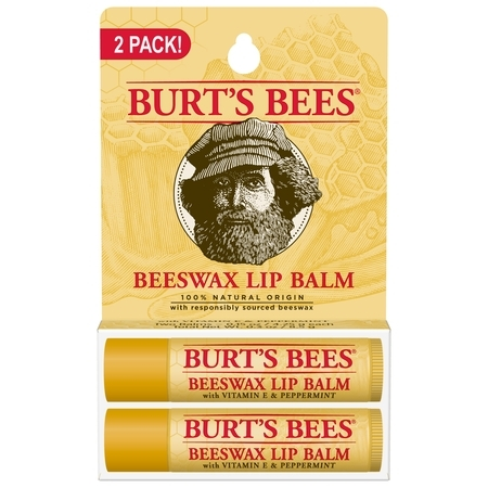 Burts Bees 100% Natural Moisturizing Lip Balm, Beeswax, 2 Tubes in Blister Box