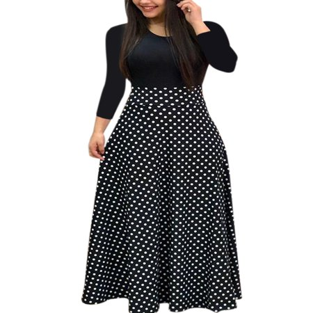 Autumn Women Long Sleeve Print Gored Skirt Boho Ladies Party Evening Holiday Maxi Dress - Green Santa Dress