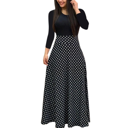 Autumn Women Long Sleeve Print Gored Skirt Boho Ladies Party Evening Holiday Maxi (Beaded Taffeta Evening Dress)
