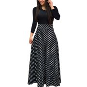 31c8181b2 Autumn Women Long Sleeve Print Gored Skirt Boho Ladies Party Evening  Holiday Maxi Dress
