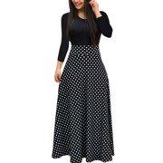 a35dece676 Autumn Women Long Sleeve Print Gored Skirt Boho Ladies Party Evening  Holiday Maxi Dress