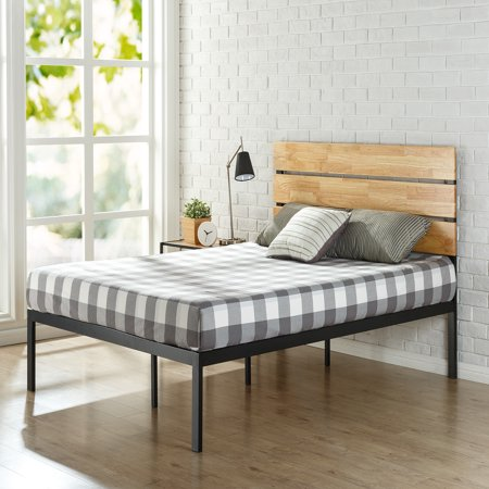 Zinus Paul Metal & Wood Platform Bed with Wood Slats, (Full Slat Panel Bed)