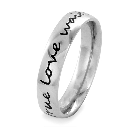 Stainless Steel True Love Waits Script Ring (Stainless Steel Tension Ring)