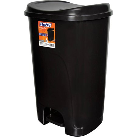 Hefty Step On 13 Gallon Trash Can Black Walmartcom
