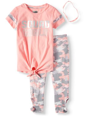 Foil Varsity Tie Front Top and Performance Legging, 2-Piece Active Set (Little Girls & Big Girls)
