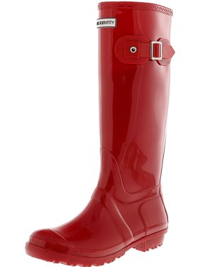 Exotic Identity Tall Rain Boots-Non-slip 100% Waterproof for Women - 8M - Gloss Red