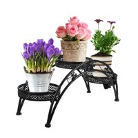 Dazone Wrought Iron Pot Plant Stand for Three Plants Indoor or Outdoor Garden Patio Decor Arch Design