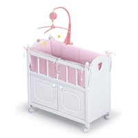 "Badger Basket Gingham Doll Crib with Cabinet, Bedding, Mobile and Wheels - White/Pink - Fits American Girl, My Life As & Most 18"" Dolls"