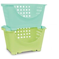 Homz Stackable Storage Bins for Kids, Set of 6, Multiple Colors
